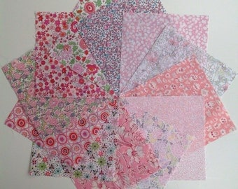 Liberty lawn fabric BABY PINK charm pack - 12 Liberty of London Tana Lawn  Fabric 5 inch squares