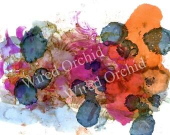 Laser Copy of Original Alcohol Ink Artwork / Denim Blue, Orange, Brown, Hot Pink Abstract Design