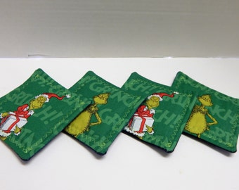 Set of 4 Fabric Drink Coasters Grinch that stole Christmas
