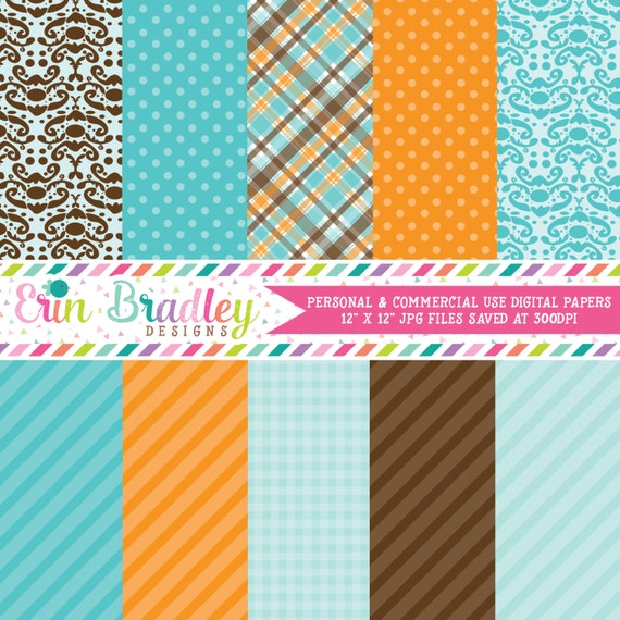 Digital Scrapbook Papers Personal and Commercial Use Blue Orange and Brown Set