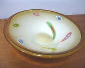 SALE - Vintage Murano Art Glass Amber Yellow Lavorazione Millefiori Large Low Bowl