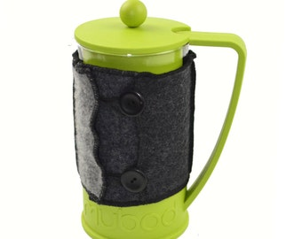 Bodum Cover in Upcycled Wool - French Press Coffee Cozy - Grey Charcoal Black