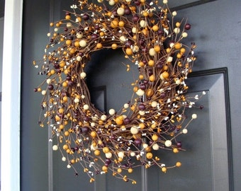 WREATH SALE Mustard, Burgandy and Cream Berry Fall Wreath- Fall Colors 20 inch Fall Wreath, Fall Decor