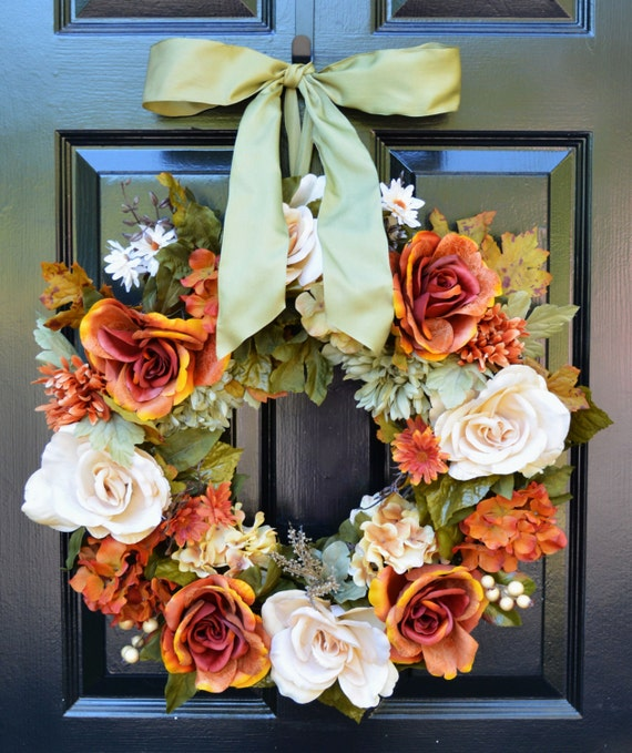 Fall Wreath- Limited Edition Rose Wreath- 22 inch- Year Round Decor- Fall Decorations- Silk Flower Wreath- Front Door Wreath- Autumn Decor