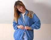 30% off ... Suede and Denim Tribal Patched Button Down Jacket - Vintage 90s - MEDIUM M