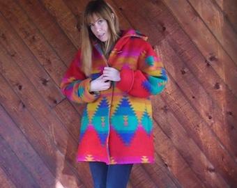 Rainbow Navajo Southwestern Hooded Wool Parka Coat - Vintage 80s - MEDIUM M