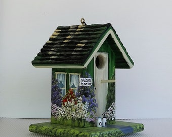 Green and Ivory Handcrafted Birdhouse , with Swing and Sign , Hand Painted , with Clean Out