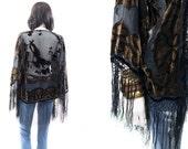 Velvet Burnout Silk Fringe Kimono Jacket Boho Hippie Golden Floral Robe Duster Jacket