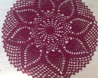 Burgundy, pineapple  designed  beautiful doily, new, ready to mail, Set of 2 , made by Demet