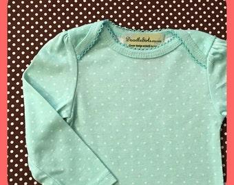 Monogrammed mint polka dot onesie.  Personalized baby girl onesie, 3-6 month size