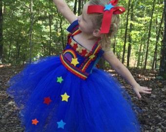 Rainbow Brite Inspired Tutu Dress - Rainbow Brite Costume - Rainbow Brite Dress