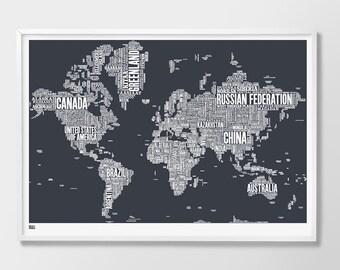 World Type Map - decorative screen print