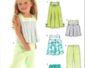 Girls Sundress Top Short and Capris Pattern - Sizes one half, 1, 2, 3, 4, New Look 6473 - New Uncut Pattern - OOP