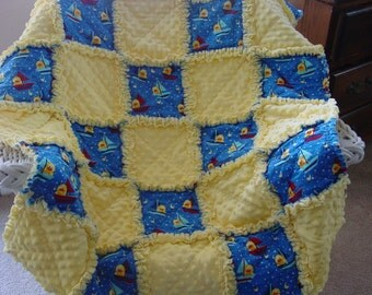 Nautical baby boy rag quilt with Ducks