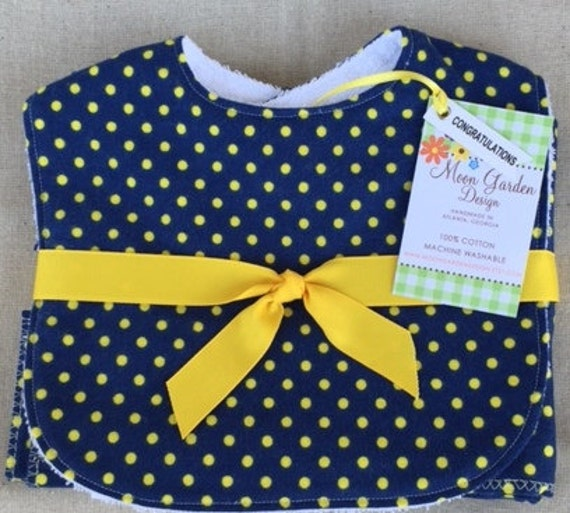Bib and Matching Flannel Burp Cloth Set in Owl and Polka Dot Prints - Gold and Navy