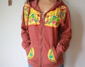 Burnt Orange / Yellow Mexican Embroidered Flower Eco Chic Bohemian Hippie Upcycled Zip Up Hoodie Hooded Sweatshirt Sweater Festival Large