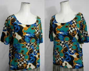 Vintage SILK Equestrian + Houndstooth Print Scoopneck Tee | Lux 1980s | Womens SMALL