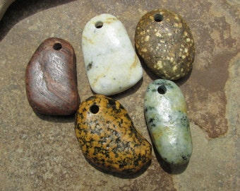 NATURAL STONE Pendants Top Drilled Stones Lake Stone Charms 3mm