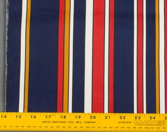 """Retro cotton fabric, Heavy weight, 30""""  long 43"""" wide Large Stripes in Blue, White, Gold, and Red, Pillows, Apron, Sold as one Piece"""