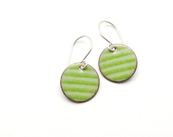 Green Striped Earrings - Enamel Earrings - Green Earrings - Enamel Jewelry - Striped Jewelry