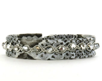 "Trendy Reindeer Python Leather Bracelet-Swarovski Crystals-Pewter Button- 7/16"" Wide-B21-C Snowball Crystal MEDIUM"