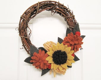 Fall Autumn Flower Wreath Sunflower Thanksgiving Decoration Handcrafted from Felted Wool Sweaters no976