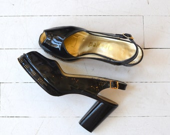 Palizzio platforms | vintage 1970s platform heels | black patent leather platforms shoes 8