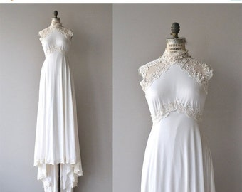 25% OFF.... Grand Palais wedding gown | vintage 1970s wedding dress | empire lace 70s wedding gown