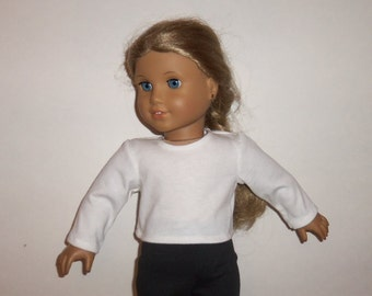18 Inch Doll Shirt, White Cotton, Long Sleeve, T Shirt, Tee, American Made, Girl Doll Clothes