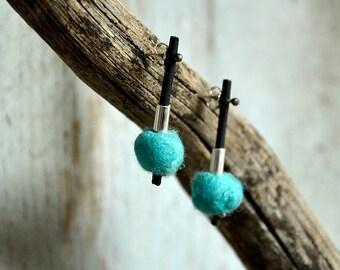 Turquoise Sterling Silver Modern earrings  hand crafted Felt and silver earrings dangle Earrings for Pierced ears