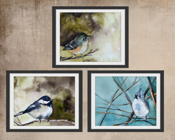 for her mom gift for mom bird painting in watercolor painting of bird PRINT SET large bird art print set mom grandma girlfriend winter h