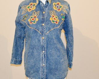 Vintage Denim Shirt with Hipster Beads