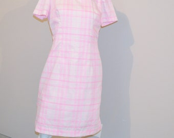 Vintage 1950's Pink Plaid with Bow Joan Curtis Dress