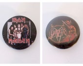 Vintage 1980s Iron Maiden & Slayer Pinback Buttons / Heavy Metal Band Pins