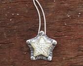 Silver Star Pendant,  Handmade Artisan Glass Jewelry, Handmade Glass Star Pendant
