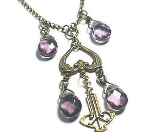 Lovely Victorian Chandelier Heart Necklace Amethyst Quartz in Vintage Gold Valentine Jewelry Gift