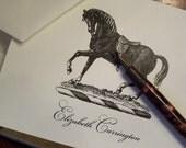 Equestrian Horse Personalized Monogrammed Note Cards Black on Ivory Set of 10 Stationery English Saddle Stallion Riding