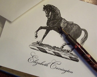 Equestrian Horse Personalized Monogrammed Note Cards Black on Ivory Set of 10 Stationery English Saddle Stallion Riding