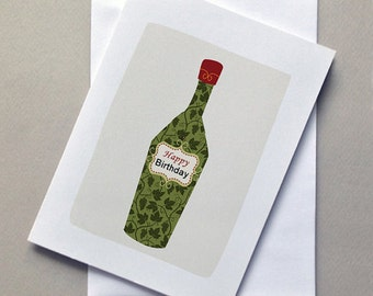 Wine Birthday Card, Wine, Cute, Funny Card, Birthday card, For him, For her, Sale