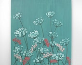 ON SALE Painting Floral Canvas Art - Teal and Pink Painting for Girls Room - Textured Artwork Flowers - Small 20x24
