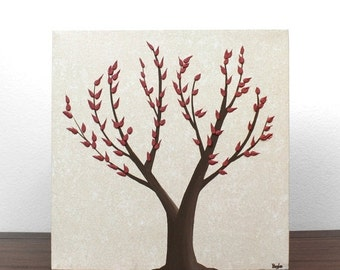 ON SALE Brown and Red Home Decor - Textured Nature Art - Original Tree Painting on Canvas - Small 10x10