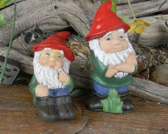 Miniature Garden Gnome - Standing or Sitting   Ceramic hand painted Fairy  Garden decor