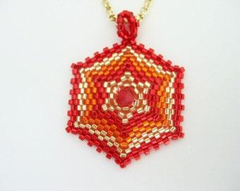Beaded Pendant  / Peyote Hexagon Pendant / Star Pendant / Seed Bead Pendant in Gold, Red and Orange / Geometric Pendant / Petite Pendant