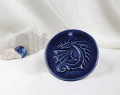 Reserved for Nancy - Magic Blue Dragon (small ceramic wall picture) -- Hand Made Ceramic Eco-Friendly Home Decor by studio Vishnya