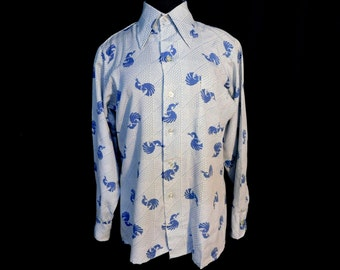 Vintage 70s Mens Blue Button Front Shirt Stylized Bird Cock Rooster Peacock Geometric Disco Era Retro Costume Party M Medium