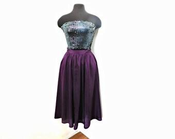 Vintage Eggplant Purple Full Mid Length Skirt Pockets Pleated High Waist 27 Small Medium