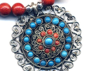 Nepal Necklace, Tibet Coral Necklace with  Mandala Pendant, Turquoise and Coral Mandala,Handmade Nepal Jewelry by AnnaArt72