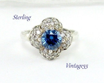 Ring Sterling CZ Blue stone Size 8