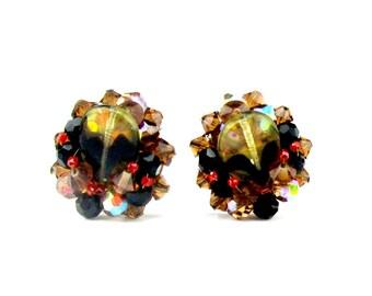 Cluster Beaded Fall Earrings Art Glass Clip on