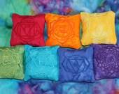 Chakra Pillows SET - Chakra Pillow - Crystal Healing - Reiki - Meditation - Chakra Balancing - Crystal Grids - SMALL - EMBROIDERED